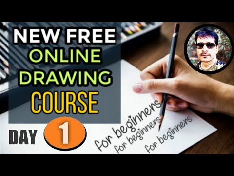 Free online drawing course for beginners day 1 | drawing training in  Hindi | online drawing classes