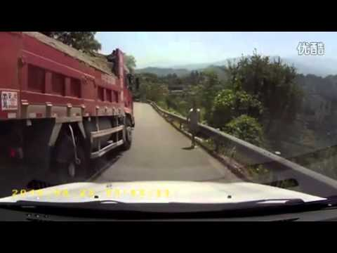Truck Drives Too Fast And Goes Straight Off The Edge Of A Cliff