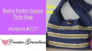 Boho, Hobo, Gypsy, Hippie Hemp Market Tote Bag (FREE PATTERN At End Of Video) Pattern Only Video.