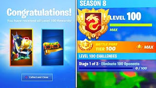 The New LEVEL 100 REWARDS in SEASON 8! SECRET REWARDS UNLOCKED in Fortnite! (Fortnite Battle Royale)