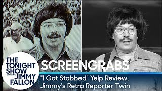 """Screengrabs: """"I Got Stabbed"""" Yelp Review, Jimmy's Retro Reporter Twin"""
