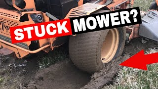 MOWER  STUCK IN THE MUD!  HOW TO GET IT OUT YOURSELF!!