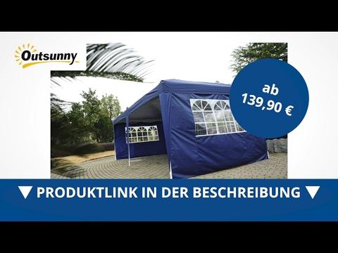 Outsunny 3x6m Faltpavillon Partyzelt Gartenzelt inkl. 4 Seitenteile Blau - direkt kaufen!