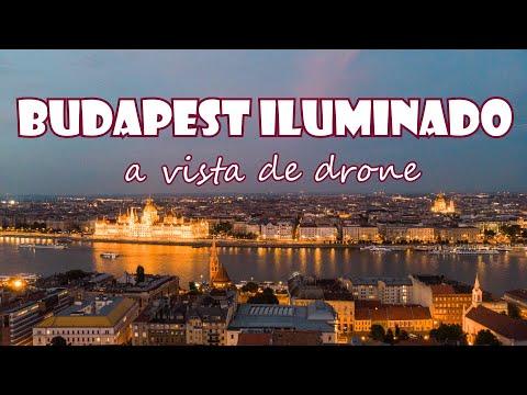 Budapest iluminado a vista de drone