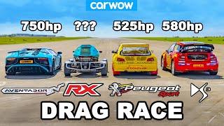 [carwow] Lamborghini Aventador SV vs £1M Rallycross Racers: DRAG RACE