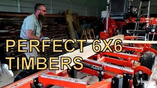SAWING OUT PERFECT 6X6 WHITE OAK TIMBERS ON THE WOOD-MIZER SAWMILL,