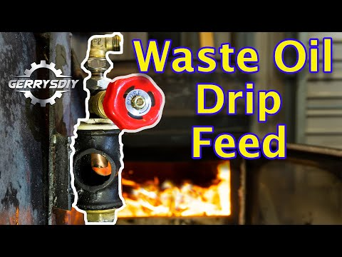 Homemade Waste Oil Burner Drip feed   Free Heat