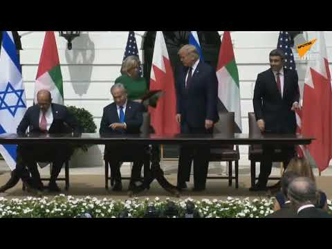 حفل توقيع اتفاق السلام التاريخي بين إسرائيل وكل من الإمارات والبحرين