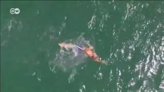 Nadador britânico inicia travessia do Atlântico