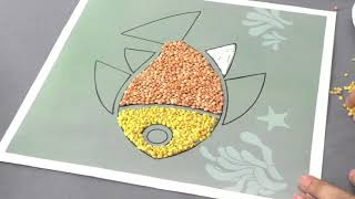Art And Craft Class-1 | Seeds Pasting: Fish | Kriti Educational Videos