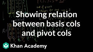 Showing relation between basis cols and pivot cols