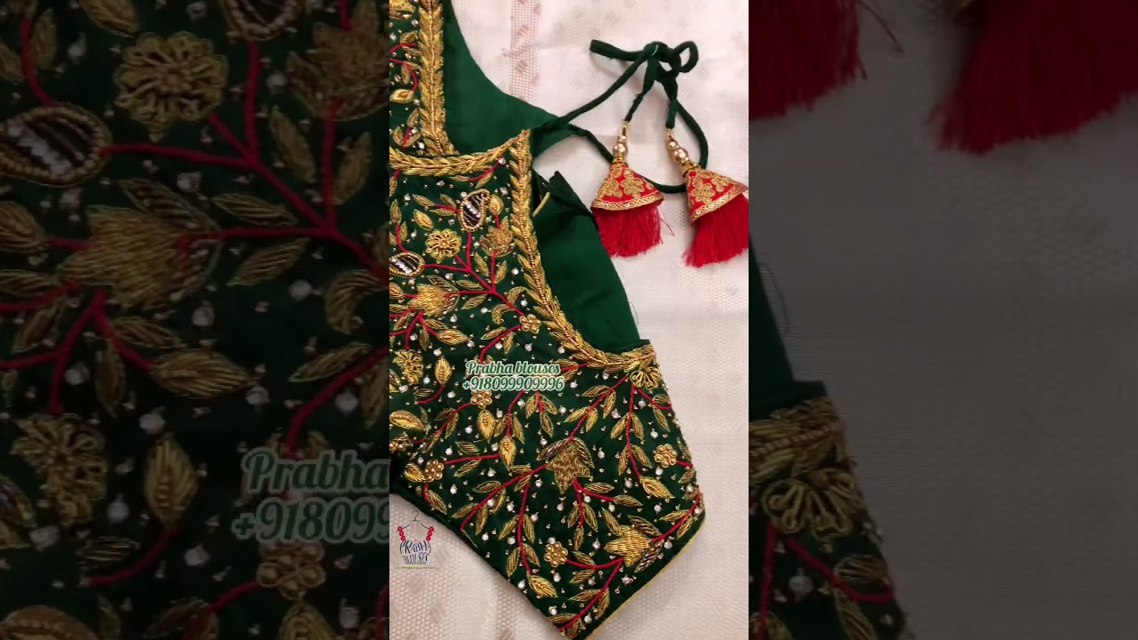 "<p style=""color: red"">Video : </p>Bottle green zardosi work blouse designs / prabhablouses / maggamwork 2021-10-06"