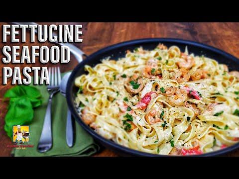 Fettucine Seafood Alfredo Recipe | Seafood Pasta Recipe