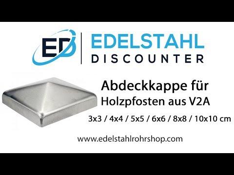Abdeckkappe für Holzpfosten aus Edelstahl V2A