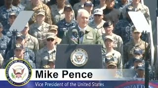 VP Pence Aboard US Carrier Pledges To Defend Asia