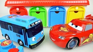 Tayo(타요) bus RC and Disney Cars Lightning McQueen Burnout tires toys