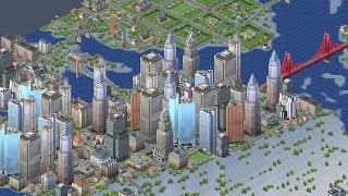 """SimCity 3000 Time-lapse Creation of a Waterfall City """"Industria Falls"""""""