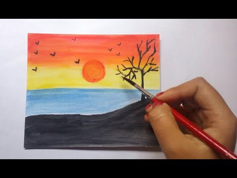 How to draw Sunset step by step and colour ।। Sunset drawing with watercolor।।