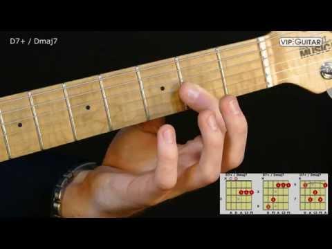 Gitarrenakkorde: D7+ / Dmaj7 chord