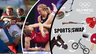 Wrestling vs Rugby 7s - Can Sam Cross & Sofia Mattsson Switch Sports? | Sports Swap Challenge