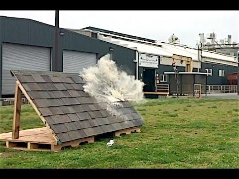 Soda Cannon Impact Test on Malarkey Roofing Shingles