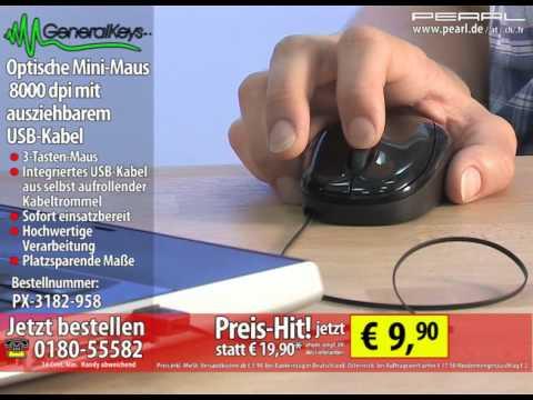 GeneralKeys Optische Mini-Maus 800 dpi mit ausziehbarem USB-Kabel