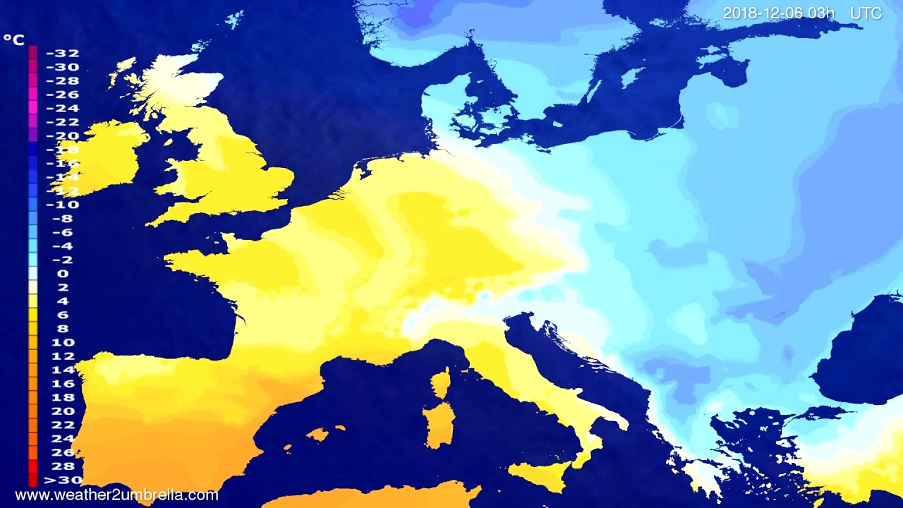 Temperature forecast Europe 2018-12-03
