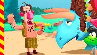 Мультики про динозавров - туземцы напали на Диплодога. Динозавр мультфильм для мальчиков.