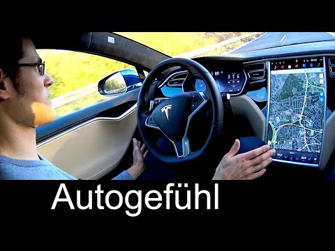 New Tesla Autopilot autonomous car Model S p85/90D upgrade test ride real road & motorway with