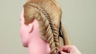 Смотреть онлайн Как заплести косу обратный рыбий хвост