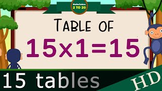 15-x1=15 Multiplication,Table of Fifteen Tables Song  Multiplication Time of tables  - MathsTables