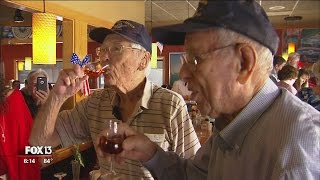 Final two WWII squad members share solemn toast to fallen comrades