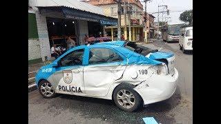 Viatura da PM fica destruída após perseguição em SG