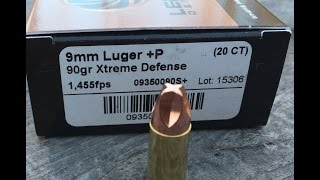 Lehigh Defense 9mm 90gr Xtreme Defense Ammo Velocity Test
