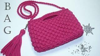 Сумка 2 из трикотажной пряжи. Вязание крючком. Bag of T-Shirt Yarn. Crochet.