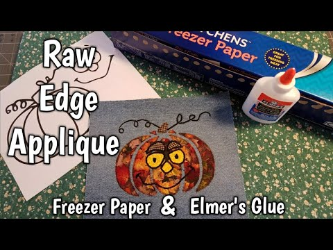 Raw Edge Applique using Freezer Paper & Elmer's Glue - Making Mr. Pumpkin