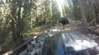 2 Supercharged jeeps climbing SOB Hill at Red Cone