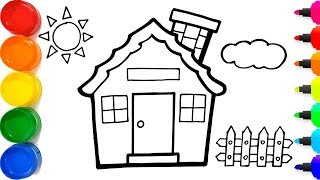 Glitter Rainbow House Coloring And Drawing For Kids - Cara Menggambar Dan Mewarnai Rumah