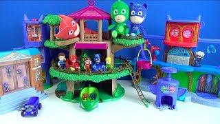 Pijamaskeliler oyuncak koleksiyonu dönüştürme oyun seti Pj masks karargahı ağaç evi ve yarış pist