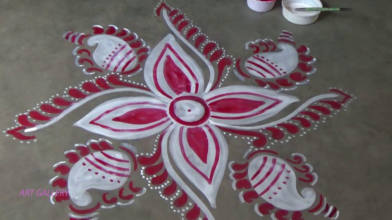 beautiful alpana rangoli design for festivals and functions