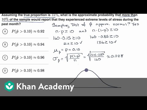 Probability Of Sample Proportions Example Video Khan