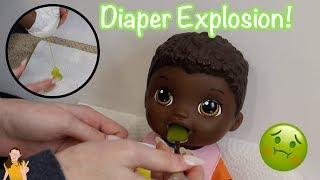 Baby Alive Nate Eats Green Veggies Food! Exploding Diaper! | Kelli Maple