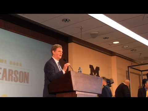 Michigan AD Warde Manuel introduces Mel Pearson as next hockey coach