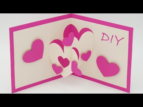 Pop Up Karten Basteln Mit Papier Herz Karte Selber Machen
