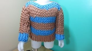 Loom knit baby sweater from leftover yarn for beginners