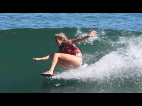 Stephanie surfing Malibu