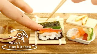 "Mini Food Tiny Edible Sushi Rolls ""Eho-maki"" 本当に食べられるミニチュア料理/恵方巻 #21   Yuka's Tiny Kitchen"