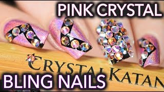 Crystal bling nails with the Crystal Katana ☆