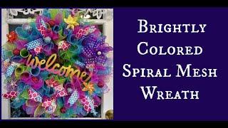 DIY Brightly Colored Spiral Mesh Wreath