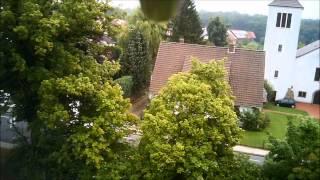 preview picture of video 'Martinskirche und Turnhalle SV Hellern  RC Heli F-39'